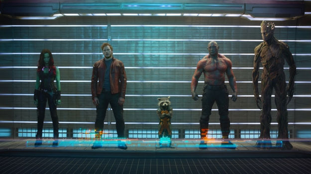 Marvel's Guardians Of The Galaxy L to R: Gamora (Zoe Saldana), Peter Quill/Star-Lord (Chris Pratt), Rocket Raccoon (voiced by Bradley Cooper), Drax The Destroyer (Dave Bautista) and Groot (voiced by Vin Diesel) Ph: Film Frame ©Marvel 2014